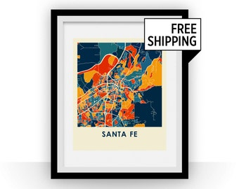 Santa Fe Map Print - Full Color Map Poster