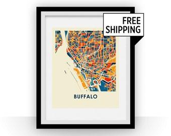 Buffalo Map Print - Full Color Map Poster
