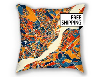 Quebec Map Pillow - Qc Map Pillow 18x18