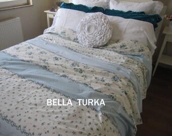 Blue White Floral Bedding, Floral Duvet Cover Twin XL Cal King Double Full, Dorm Bedding, Custom Shabby Chic bedding Bedroom decor