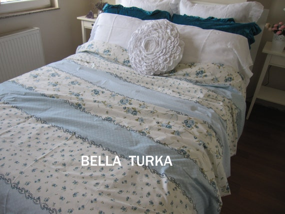 items similar to blue white floral bedding floral duvet cover twin xl cal king double full. Black Bedroom Furniture Sets. Home Design Ideas
