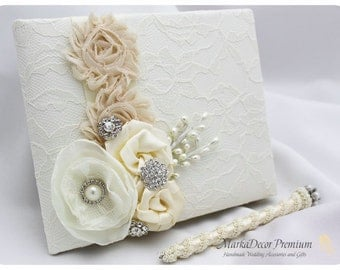 Wedding Lace Guest Book Pen Set Custom Bridal Flower Brooch Guest Books in Ivory and Champagne
