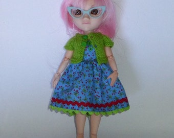 """Makie Doll 10"""" Handmade Blue Red Cherry Print Dress with Ric Rac Trim and Matching Green Knitted Short Sleeve Cardy"""