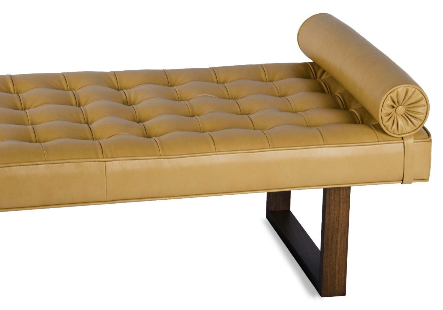 Retro modern tufted leather daybed lounge chaise bench for Daybed bench chaise