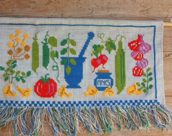 Nice cross stitch vegetables embroidered Wall Hanging in linen from Sweden
