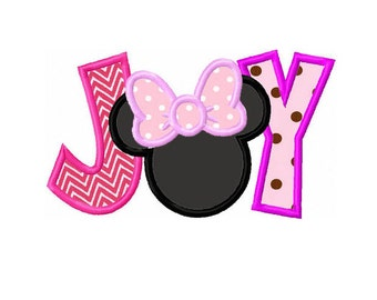 """Christmas JOY Minnie JOY Machine Embroidery Applique - 4x4 5x5  6x6"""""""