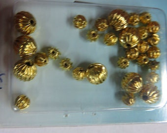 Gold Beads - 3 Packages of Gold Beads - Brass and Glass