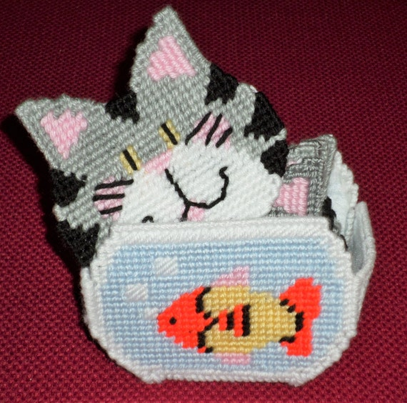 Plastic Canvas Fish Bowl With Kittens Coaster By Sugarbearhair