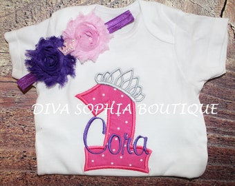 Tiara Number Personalized Bodysuit - T-shirt with Headband
