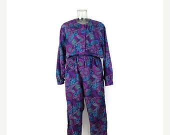 STORE WIDE SALE Vintage Diane Von furstenberg Purple Floral Motid/abstract Jumpsuits/Romper/All in one from 1980's/Dvf*
