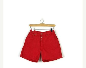 SUMMER SALE Free Shipping!!Vintage Red Denim Shorts from 90's*