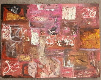 """Abstract Collage Painting """"Rose Quartz"""" by Anthony"""