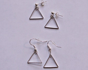 "Earrings ""Silver triangle"", earrings or plugs to choose"