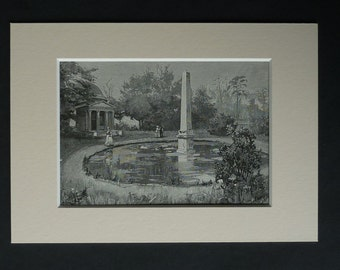 1880s Antique Chiswick House Print of the Ionic Temple and Obelisk, Ancient Roman Architecture, Portico Picture, Available Framed Garden Art