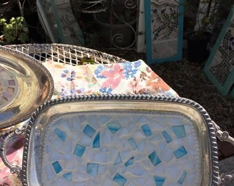 SOLD! Mosaic, Silver Plated Tray, Beachy, Mother of Pearl, Rhinestones
