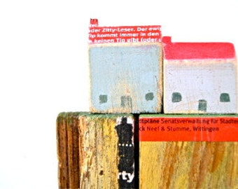Two Houses on an ochre Cliff, Original Mixed Media Art, Rustic Wall Hanging, Little Wooden Houses