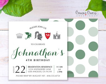 Knights Child's Birthday Invitation - Baby, Toddler, Kid's Castle Birthday Party Invite - Medieval King Party - Digital File