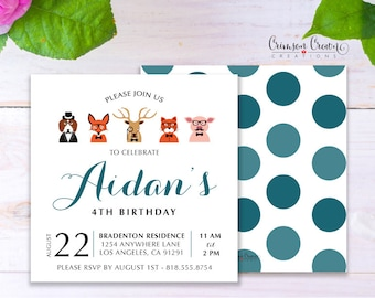 Hipster Animals Child's Birthday Invitation - Baby, Toddler, Kid's Forest Birthday Party Invite - Woodland Animals Party - Digital File