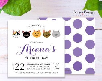 Cats Kittens Child's Birthday Invitation - Baby, Toddler, Kid's Kitty Birthday Party Invite - Pet Party - Digital File
