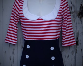 Red And Pink Stripe Round Collared Sailor 3/4 Sleeve Pin Up Girl Top With  Buttons - Size 8 10 12 14  - Rockabilly Tattoo Retro Blouse 1950s