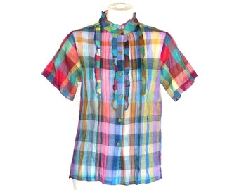 ZodiAC 70s Tops 12 NWT Vintage Cotton Plaid Shirts M and L Free Domestic and Discounted International Shipping