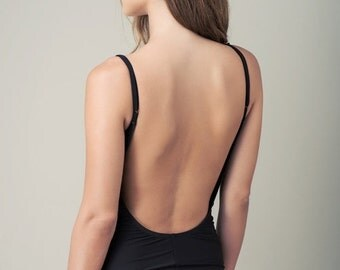 SUMMER SALE Black one piece swimsuit-open back swimsuit-womens swimwear