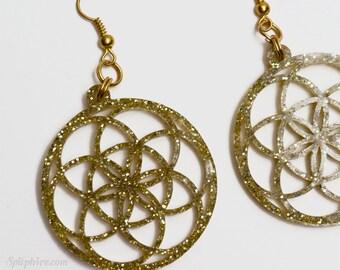 Seed of Life Earrings - Gold Glitter Flower of Life Earrings - Laser Cut
