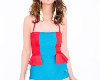 Retro one piece swimsuit - peplum swimsuit - one piece swimsuit- high waist one piece swimsuit- 70's one piece swimsuit- peplum bathing suit