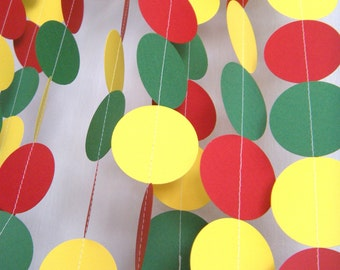 Rasta/ Birthday Party Paper Garland - Red, Yellow and Green
