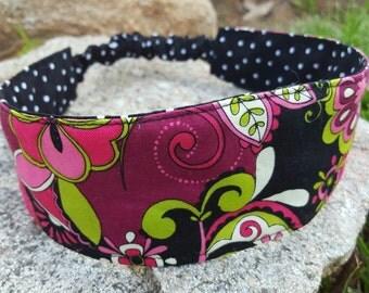 Pink & Black Reversible Headband, Ladies Polka-dot  Headband