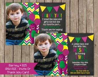 Barney Birthday Invitation OR Thank you card - Digital File