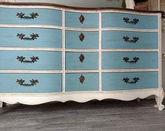 Gorgeous refinished vintage French provincial dresser and mirror