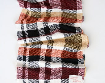 Handwoven Scarf; Plaid Scarf; Black, White, Mustard, Orange, and Maroon Scarf; Bamboo Scarf