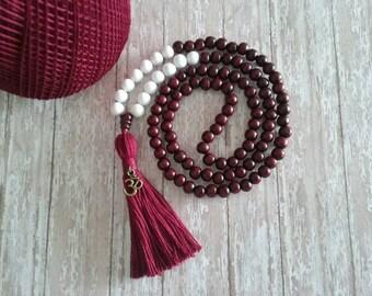 108 Mala Bead, Tassel Necklace, Mala Necklace, Tassel Bead Necklace, 108  Meditation Bead, Yoga Prayer Wood Mala, Buddhist Jewelry, Bohemian
