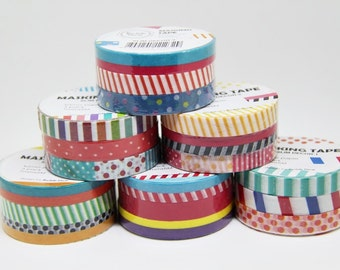 NEW Slim Washi Tape--SET of 18 Rolls--5m x 7mm.Masking Tape. Adhesive-DIY. Gift wrapping. Tag Making. Scrapbooking.Patterned Tape
