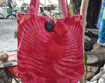 Handprinted Nature Embossed Canvas Tote Bag Made in Seychelles:  Red