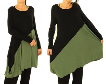 GP500 Tunic Dress Tunic Long Lagenlook asymmetrical Gr. 38-44 green / black