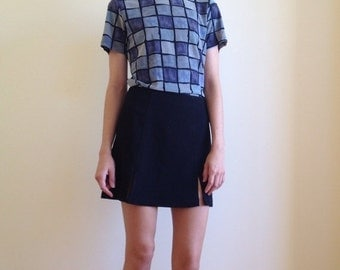 30%OFF Vintage BLUE Check PATTERN Tee / small womens shirt top
