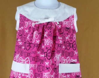 Pink bow print and white 3T dress