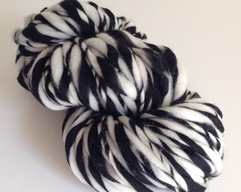 Handspun Bulky Thick and Thin Merino Wool Yarn - 50 yards - Zebra Twist