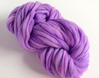 Thick and Thin Handspun Merino Wool Yarn - 50 yards - Lilacs