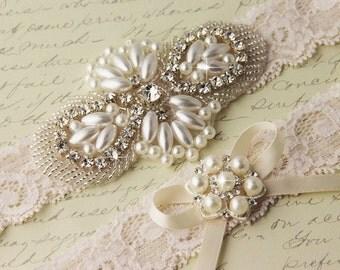 20% OFF Wedding garter set, Ivory Lace Garter Set, Ivory Bridal Garter, Lace Wedding Garter, Pearl Garter Set