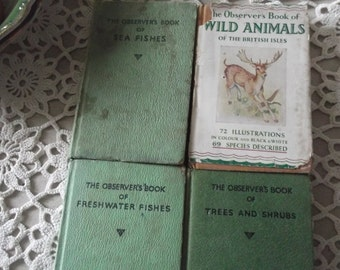 Set of 4 Observer's Books, old copies pre 70s,