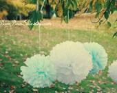 "Something Blue - 6 Large 18"" Tissue Paper Pom Poms - Fast Shipping - Wedding / Bridal Shower / Party Decoration Flowers"