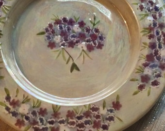 Decorative Purple/Violet Flowers Plate/Interior Decor/Collectible