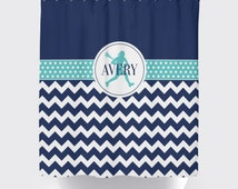 Girl's Lacrosse Shower Curtain, Custom LAX Bathroom, Chevron, Dot, Navy, Pool - ANY COLOR, Name, Standard or Extra Long Size, Personalized