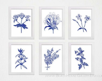 Navy and White Flower Prints, Royal Navy Blue Print Set, Navy Botanical Prints, Navy White Botanical Flower, Navy Floral Wall Art