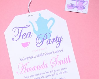 Tea Party Bridal Shower Invitation 5x7 Digital Print