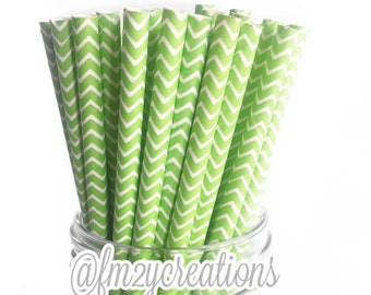 Lime Chevron Paper Straws--25 LIME GREEN Paper Straws, Green Chevron Paper Straws, Cake Pop, Diy Flag,GREEN Weddings,Green Baby Shower