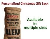 Labor Day Sale Personalized Christmas Sack Burlap Favor Bag For Xmas Present Stuffing Merry Christmas Gifts Stocking Monogram Santa Sack for